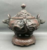 Collect royal Fengshui copper bronze dragon loong Statue Big Incense burner pot