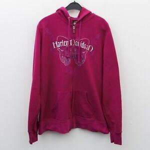 HARLEY DAVIDSON Women's L Pink Hoodie Jumper Sweatshirt Sweater Zip Up