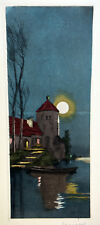 1930s Etching Signed NANCY Old Country Mansion Lakescape Moonlight Shadows