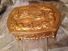 OCCUPIED JAPAN METAL JEWELRY TRINKET BOX DRAGON KOI PAGODA MOTIF DRAGONHEAD FEET