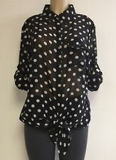 Women's Black & White Polka Dot Tie Front Button Down Top w/ Pocket 1X-2X-3X NWT