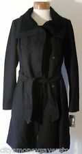 NWT Vince Camuto Womens Knit Detail Belted Wool Blend Coat M Black MSRP$225