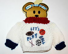 Sports Plush Teddy Bear Knit Sweater Outfit fits 11-13 inch New MOC