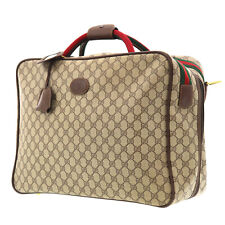 GUCCI GG Plus Web Stripe Travel Hand Bag Brown PVC Leather Italy Auth #FF240 O