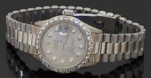Rolex Datejust 18K white gold 1.50CTW VS1/G-H diamond automatic ladies watch