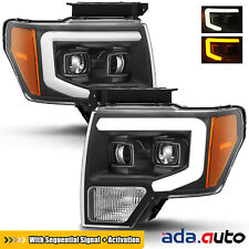 2009-2014 Ford F150 Black Dual Projector Headlights w/Sequential LED Signal/DRL