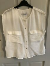 Ladies Mango Suit Collection Flowy White Blouse Size 8 Brand New