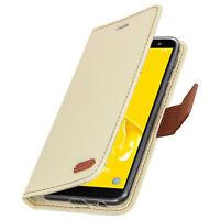 Roar flip wallet case, built-in card slot & stand for Samsung Galaxy J6 - Beige