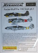 Xtradecal 1/72 X72261 focke wulf Fw190 stab decal set pt 1