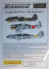 XTRADECAL 1/72 x72261 FOCKE WULF fw190 set di decalcomanie accoltellamento PT 1