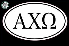 "ALPHA CHI OMEGA euro oval (5"" Full Color Printed) Vinyl Decal Window Sticker"