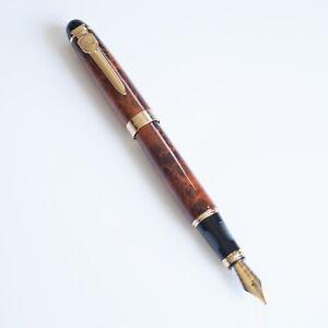 Jinhao X450-A Orange Marble Fountain Pen, MEDIUM Nib Gold Trim - UK SOLD!