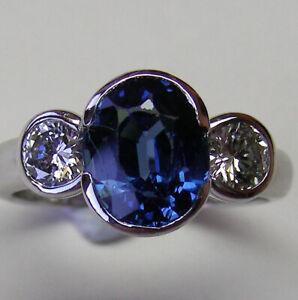 1.87ct!! BLUE CEYLON SAPPHIRE+0.40ct DIAMONDS+18ct WHITE GOLD HANDMADE RING+CERT