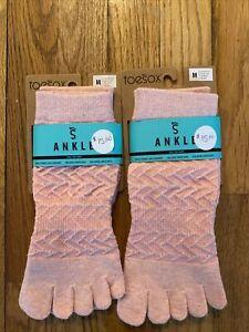 Toesox Ankle Yoga Socks Non Slip Pilates Fitness  Bare Feet 2 Pairs M Medium