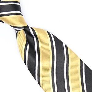 Donald J Trump Mens Silk Necktie Black Gold White Stripe Weave Woven Tie Texture