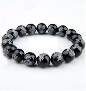 14mm Black Agate carving Buddha Gemstone Mala Stretchy Bracelets Pray Classic