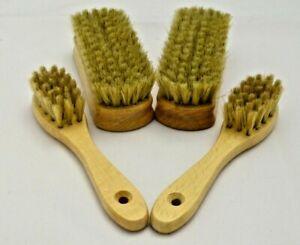 Set of 4 Natural Bristle Shoe Brushes. Boot Polishing Buffing Cleaning Brush.