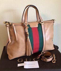 Gucci Rare Large Rania Web Handbag Tan Leather Red Green Stripe Bamboo 2Way Tote