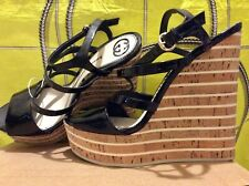 GUCCI Patent Strappy Wedges 7 / 40 Black