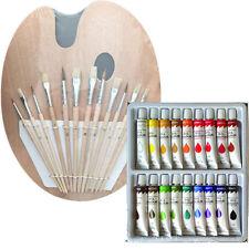 Artist 18 OIL COLOR Painting Paint Set + 12 Brush Set with Wood Palette SET