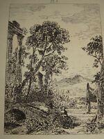 Maxime LALANNE 1827-1886 Gravure ORIGINALE PAYSAGE ITALIE IMPRESSIONNISME 1870 b