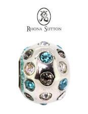 New RHONA SUTTON 925 sterling Silver BLUE CZ DISCO BALL charm bead, summer