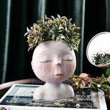 Creative Human Head Flower Vase Resin Doll Sculpture Decorative Home Planter