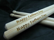 Happy Fathers Day Drumsticks - Personalisation Available. Drum Drummer Drumming