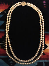 *VINTAGE* Double Strand Faux Pearl Necklace with Gold Tone Flower Clasp