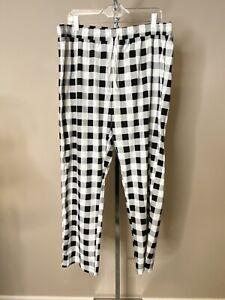 Calvin Klein Men's Lounge Pants Black & White Plaid Soft Drawstring XL