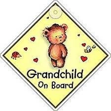Grandchild On Board Window Sign Suction Cup Diamond