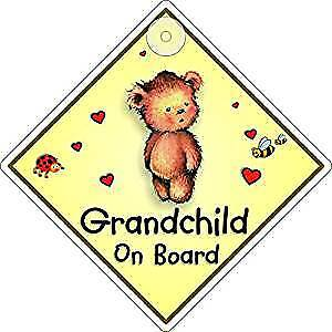 Grandchild On Board Window Sign Suction Cup Diamond