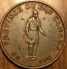 1837 LOWER CANADA HALFPENNY TOKEN - Banque du peuple on ribbon Rarely this nice!