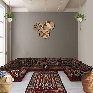 U Shaped Modular Arabic Majlis Floor Seating Sofa Furniture Suit Bohemian Decor