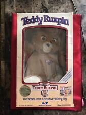 Vintage 1985 Teddy Ruxpin Animated Plush Bear Worlds Of Wonder Non-Functioning