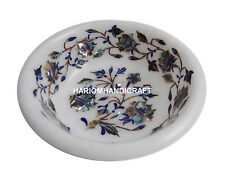 White Marble Dry Fruit Bowl Real Pauashell Marquetry Inlay Home Decor Gift H1346