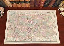 XLARGE Original 1891 Antique Map PENNSYLVANIA Ross Chester Erie York Altoona PA