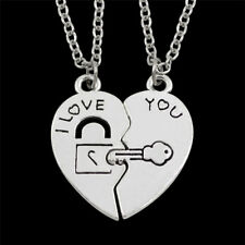 2pcs/Set I Love You Heart Lock & Key Couple Pendant Necklace Couple Chain Gifts