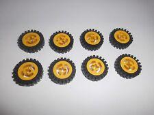 Lego (3482c01) 8 Reifen 24mm x 7mm mit Felge in alt gelb aus 8425 8855 8232 8483