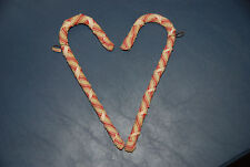 Set of 2 Handmade Primative Candy Cane Christmas Tree Ornaments -- Holiday