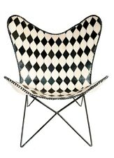 Black Diamond Butterfly Chair Iron Stand and Leather Cover Indoor Outdoor Chair