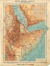 Carta geografica antica ETIOPIA ERITREA SOMALIA ITALIANA 1926 Old antique map