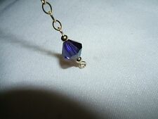 "14K Gold-filled Necklace Extender 2.5"" S Cobalt Blue Crystal 8mm AB"