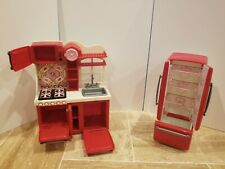"""Our Generation Doll Red Gourmet Kitchen and Fridge 18"""" Doll Playset Accessories"""