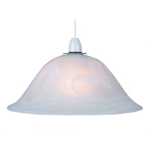 White Alabaster Glass Easy Fit Pendant Shade or Floor Lamp Shade by Happy Hom...