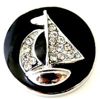 Black Silver Rhinestone Sail Boat Ship 20mm Snap Charm Button For Ginger Snaps