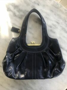 Coach Ergo Pleated Frame Kiss Lock Navy Blue Patent Leather Shoulder bag