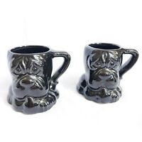 Vintage Bulldog Child Mugs Black Ceramic 3D Set Of 2