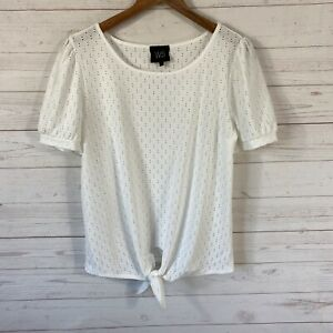 W5 Short Puff Sleeve Knot Tie Front Top Large Ivory Eyelet Cutouts Pullover