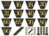 12ft Black & Gold Sparkling Fizz Metallic Birthday Party BUNTING Garland Banner